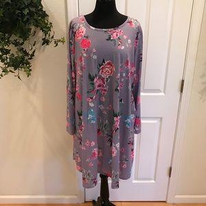 Bright Floral Print Dress, Size XXL